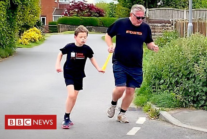 Blind boy Ted, 11, runs marathon for charity